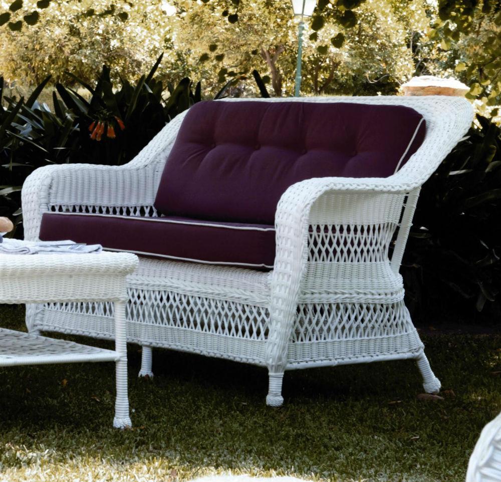 Salon de jardin en osier blanc - Mailleraye.fr jardin