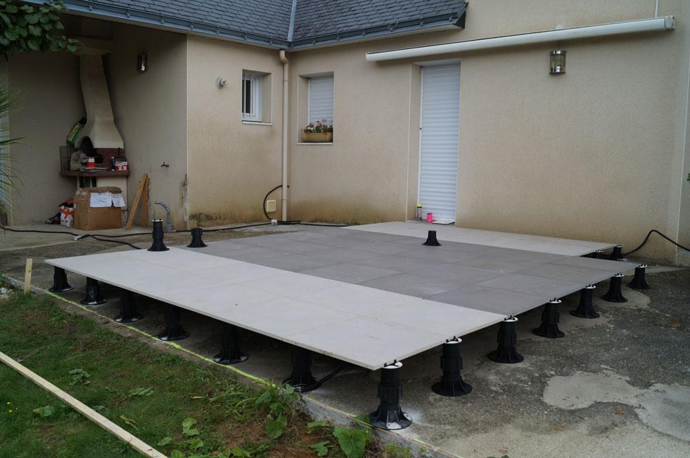 Terrasse carrelage sur plot sans dalle
