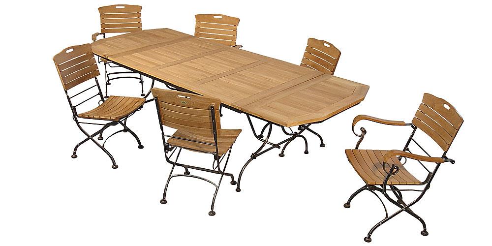 Salon de jardin teck table pliante - Mailleraye.fr jardin