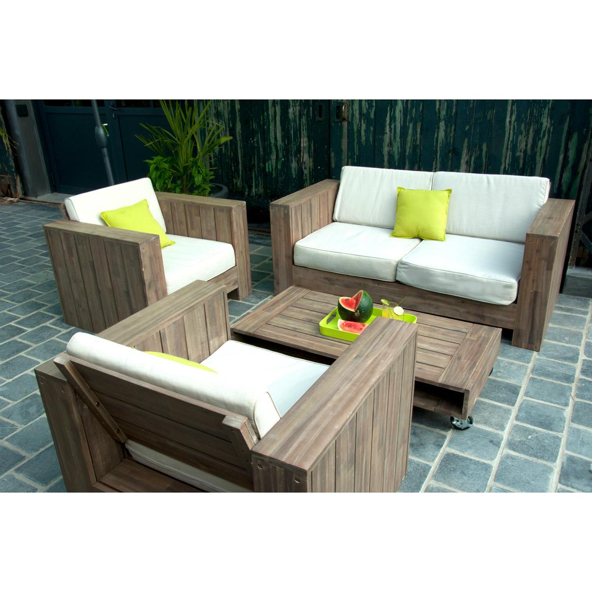 Salon de jardin en bois et aluminium - Mailleraye.fr jardin
