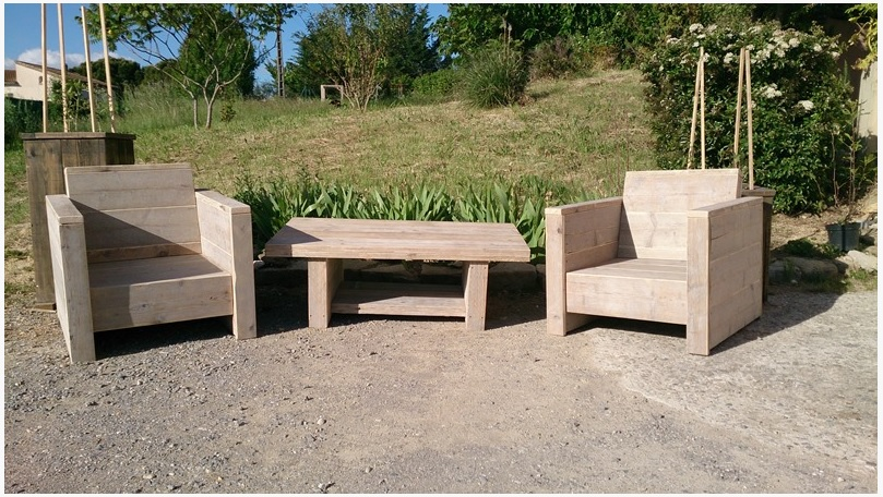 Salon de jardin en bois de recup