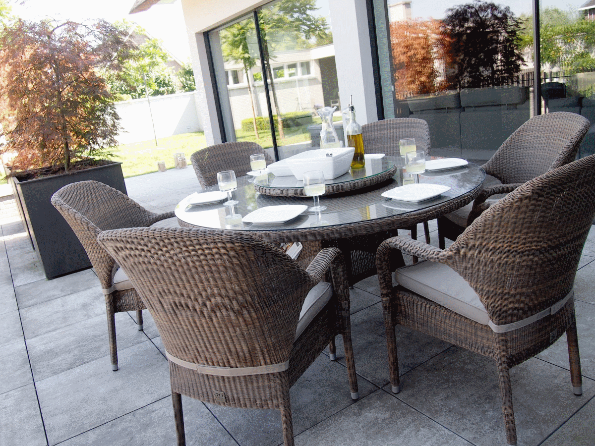 Salon de jardin avec table ronde - Mailleraye.fr jardin