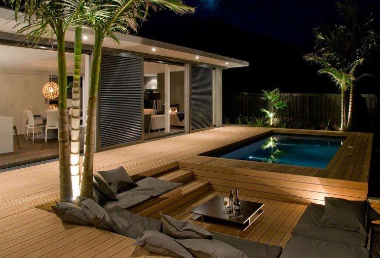 Terrasse surélevée avec piscine