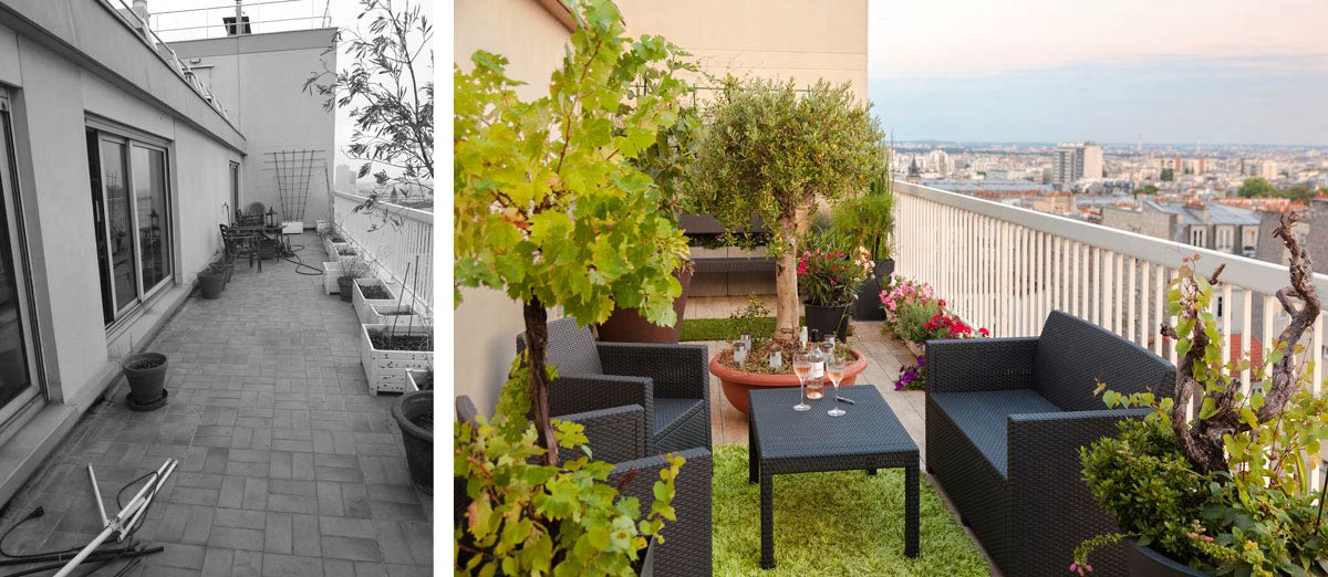 aménagement terrasse jardin appartement