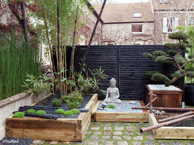 Terrasse zen avec bouddha