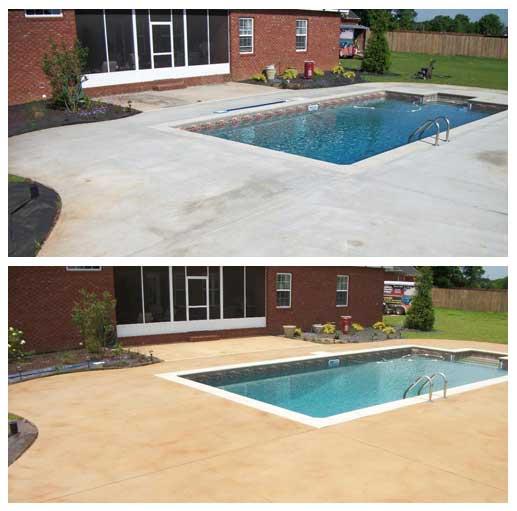 Terrasse beton autour piscine coque