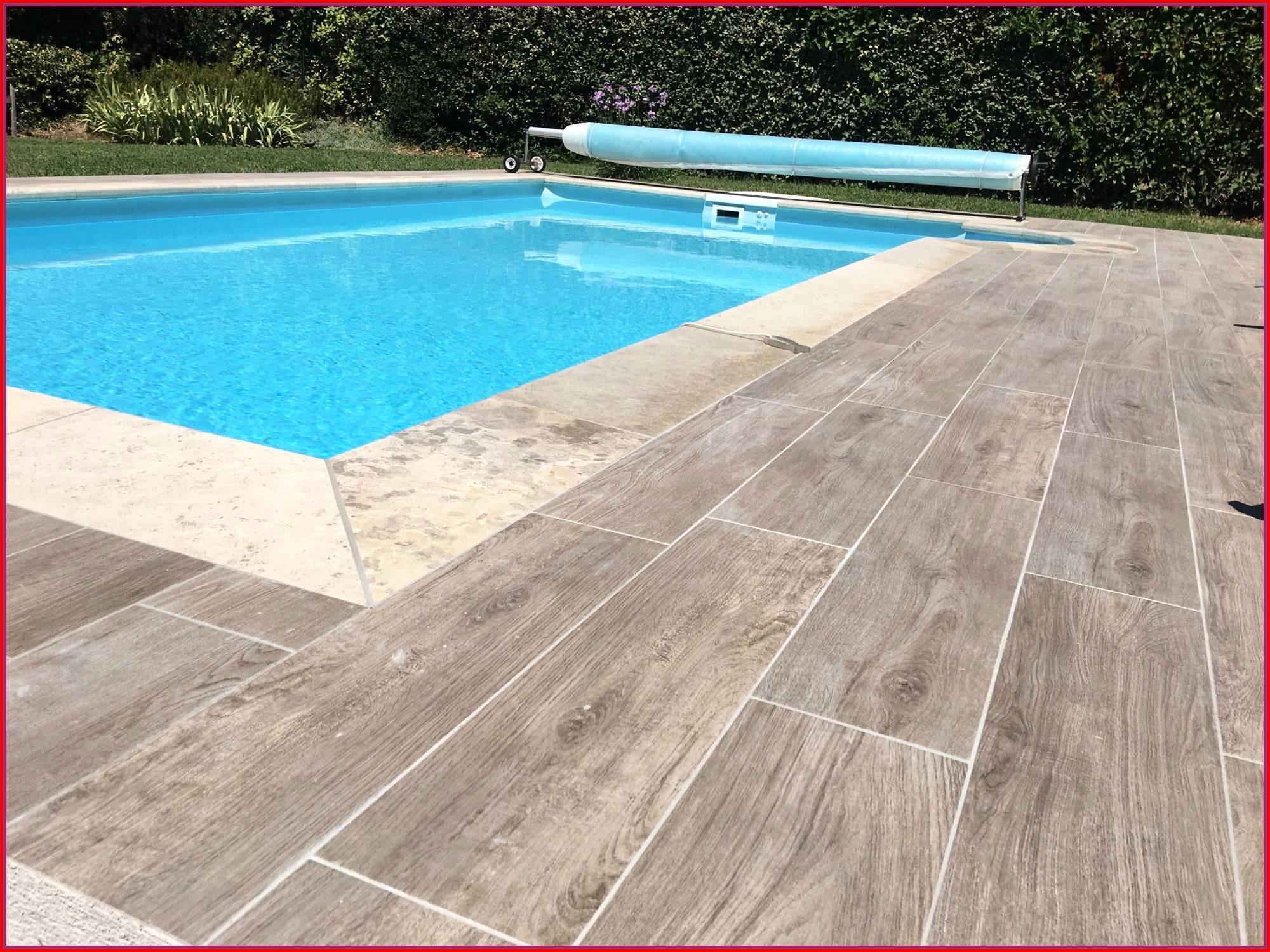 Terrasse carrelage et bois piscine
