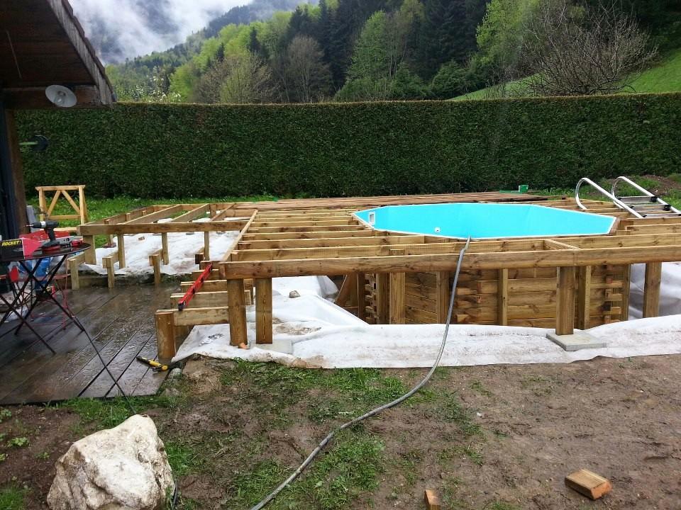 Kit terrasse bois pour piscine hors sol jardin - Amenagement autour d une piscine hors sol ...