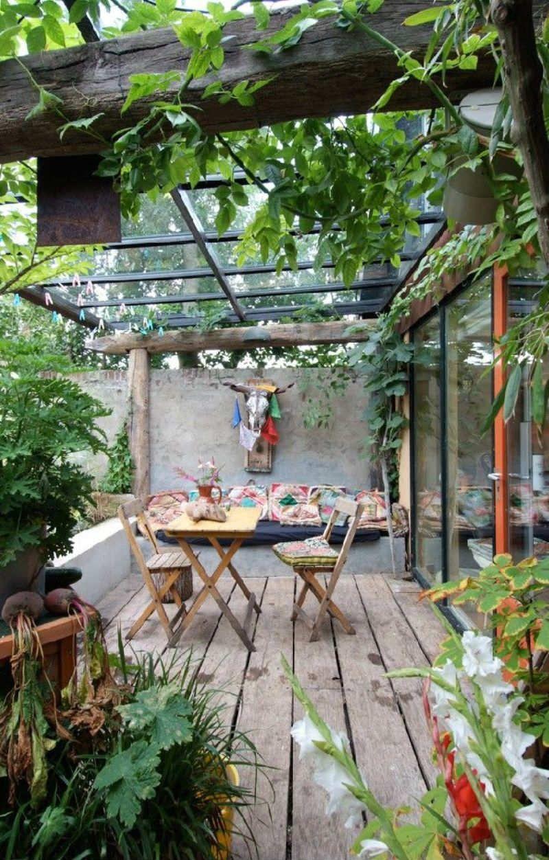Jardin balcon terrasse bois