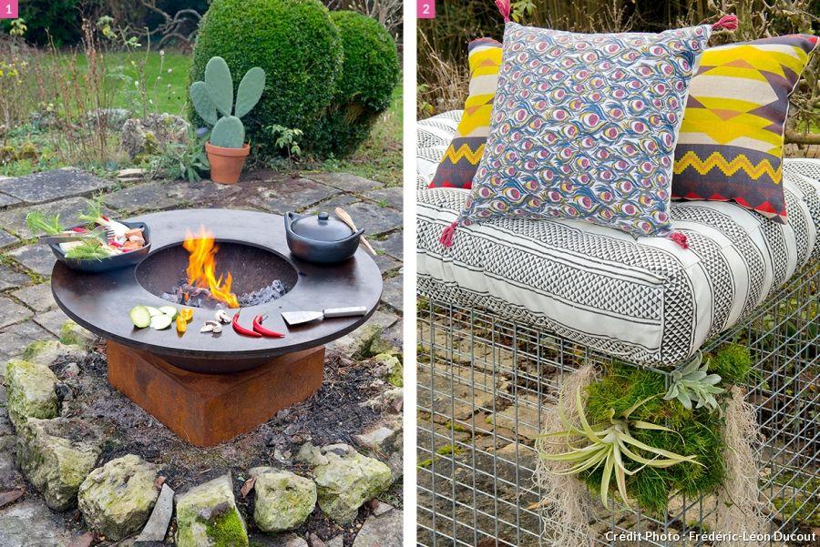 Salon de jardin en gabion