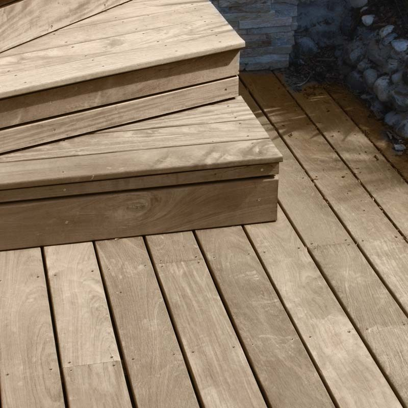 Piscine avec terrasse bois exotique