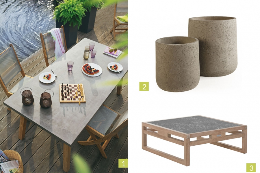 Mobilier de jardin en beton imitation bois jardin - Table jardin beton ...