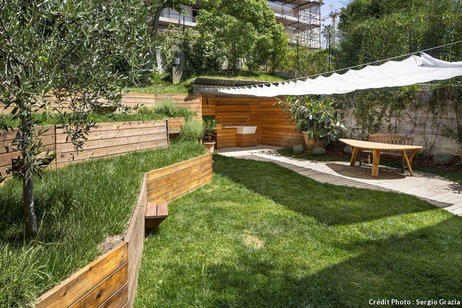 Terrasse Bois Jardin En Pente Mailleraye Fr Jardin
