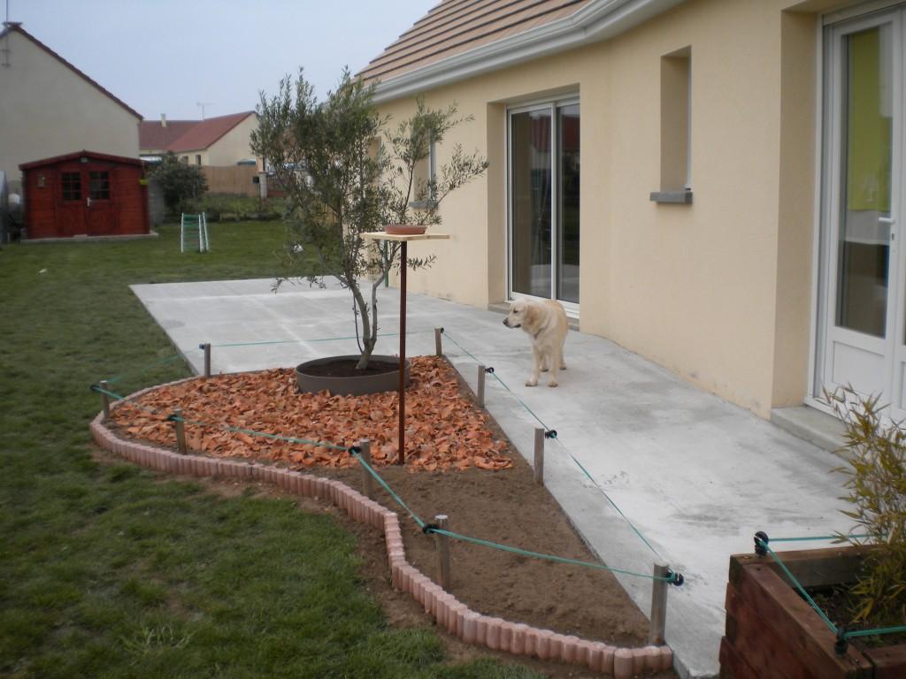 Terrasse beton maison neuve