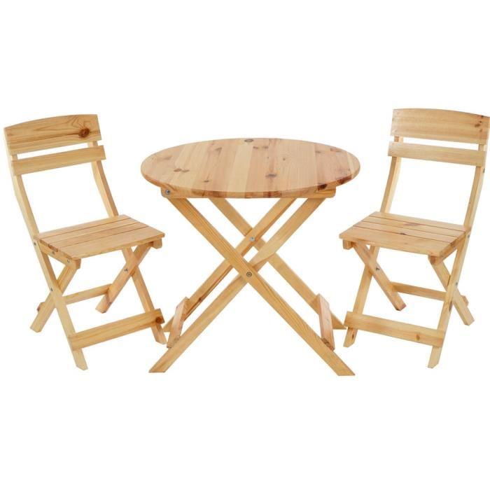 Salon de jardin en teck avec table et chaises pliantes - Mailleraye ...