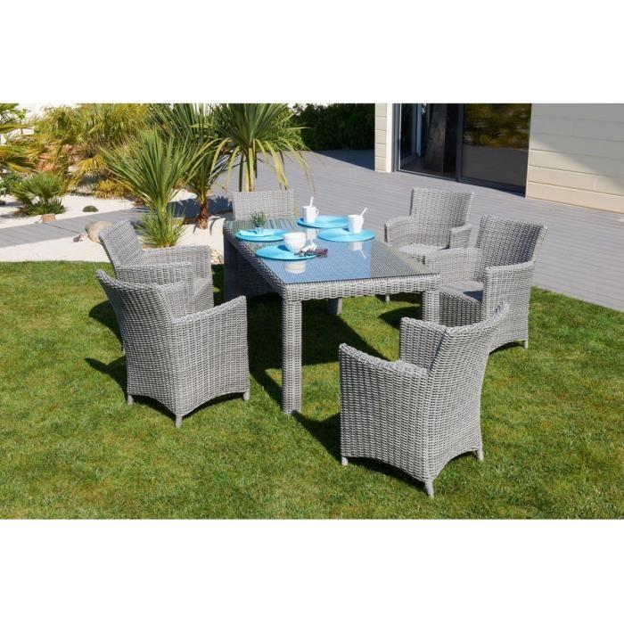 Mobilier de jardin résine tressée table et chaises gris ...