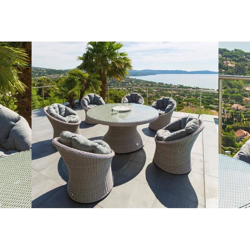Salon de jardin en résine tressée table ronde - Mailleraye ...