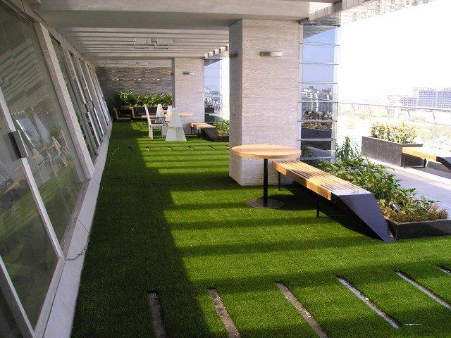 Terrasse balcon gazon