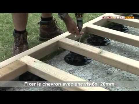Terrasse bois sur lambourdes et plots pvc