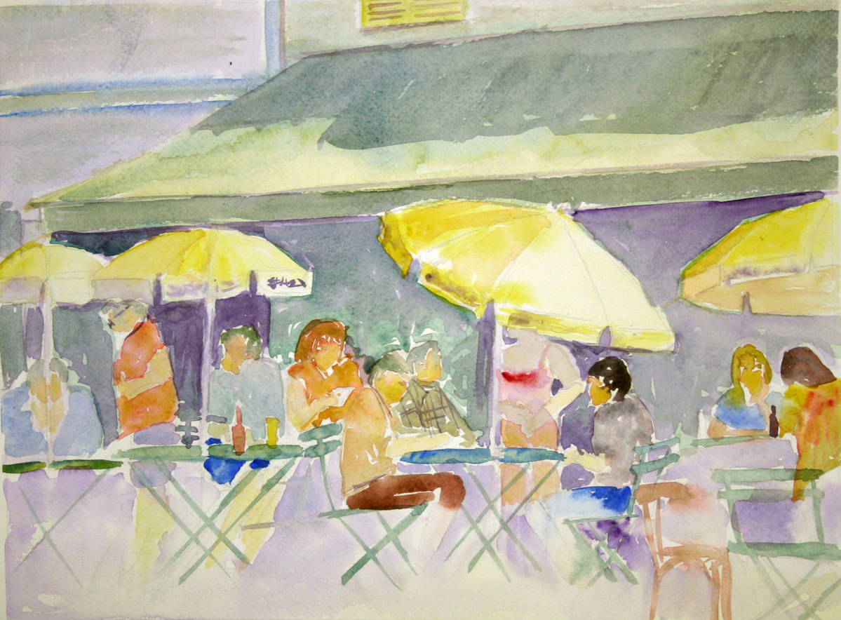 Terrasse de cafe en peinture