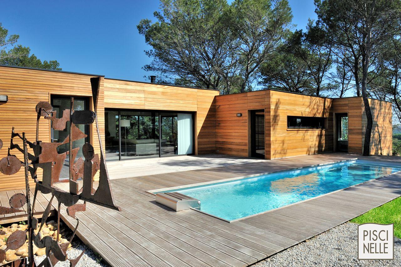 Maison terrasse bois piscine