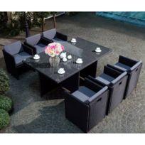 Salon-de-jardin-noir-en-poly rotin-avec-coussins