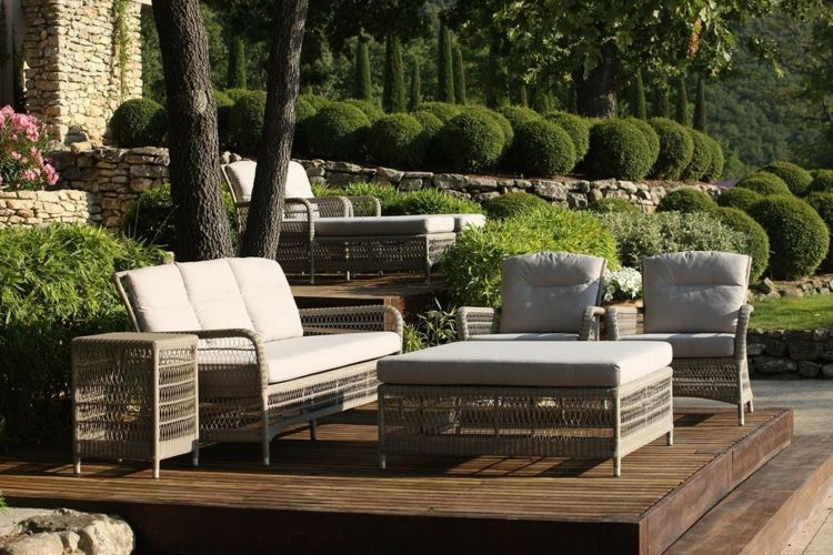 Salon de jardin lounge en bois - Mailleraye.fr jardin