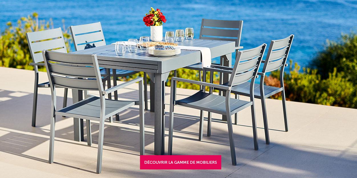 Table salon de jardin plastique bleu - Mailleraye.fr jardin
