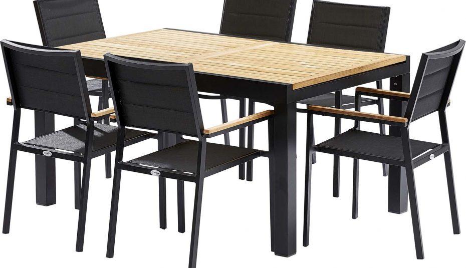 Salon de jardin table 6 chaises en r sine tress e - Table et chaise de jardin plastique ...