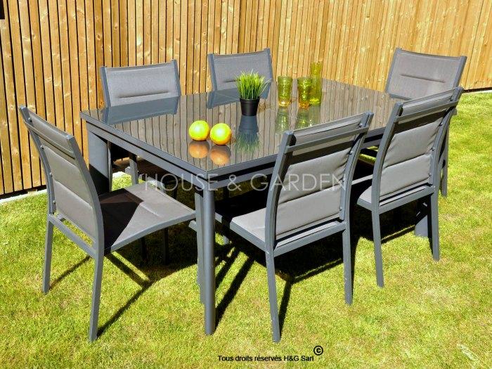 Salon de jardin table ronde en verre