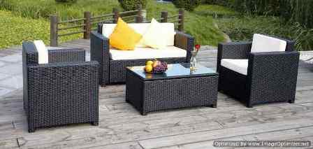 Salon de jardin en resine noir cdiscount