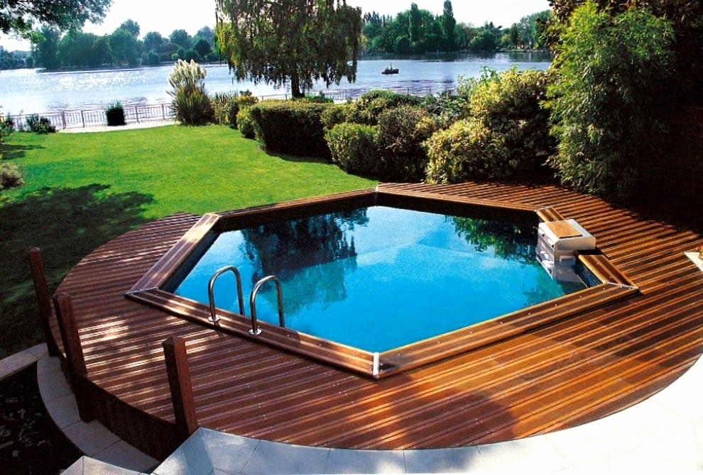 Terrasse bois piscine hors sol bois