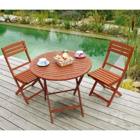 Table de salon de jardin ronde en bois - Mailleraye.fr jardin