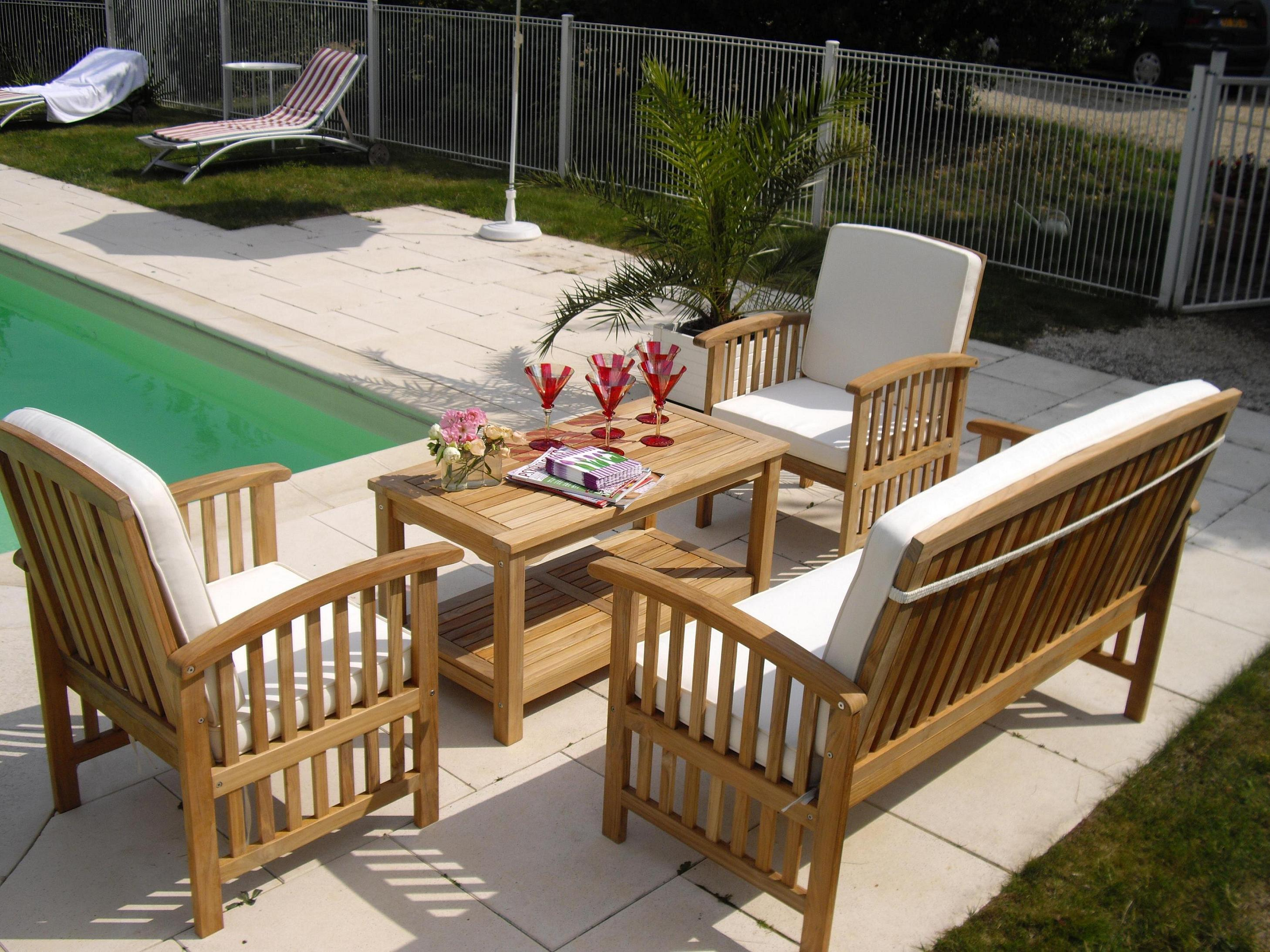 Salon de jardin en bois bas - Mailleraye.fr jardin