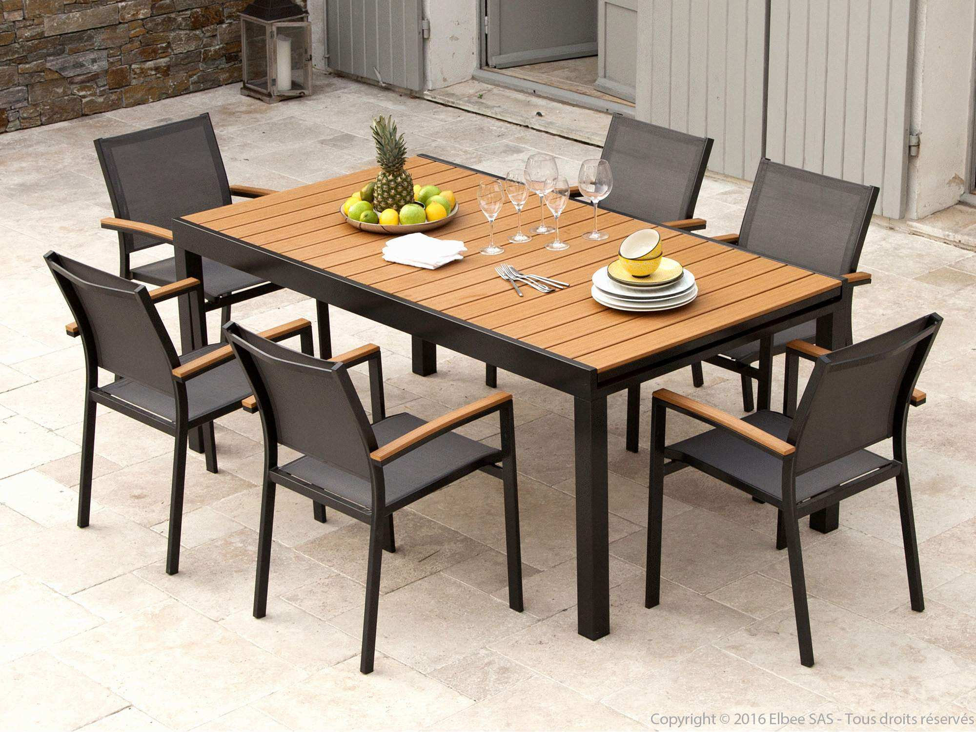Table de salon de jardin extensible