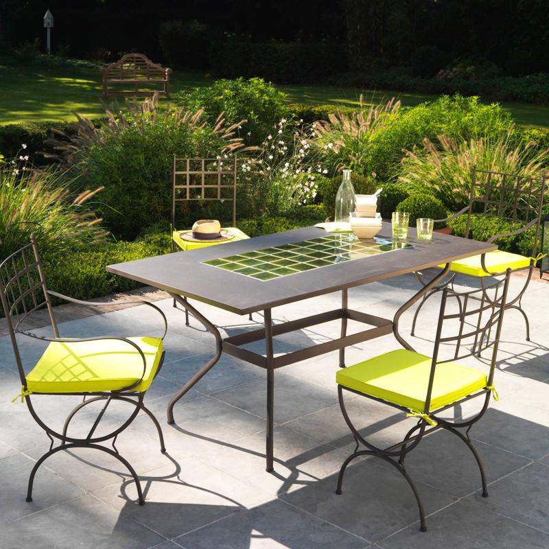 Salon de jardin en bois et fer forgé - Mailleraye.fr jardin