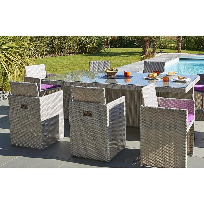 Salon de jardin avec fauteuils encastrables - Mailleraye.fr jardin