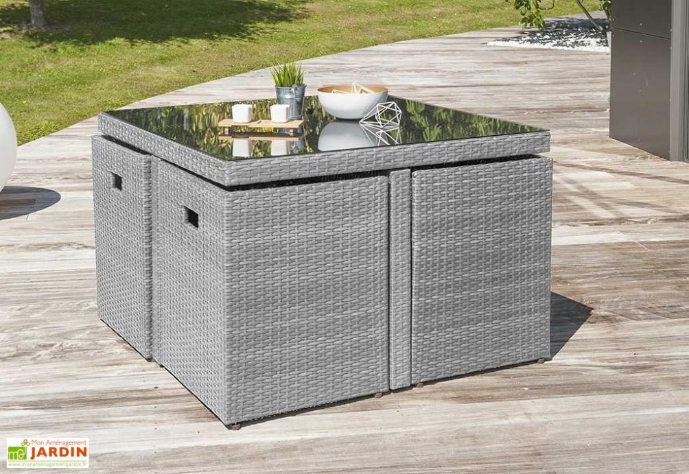 Salon de jardin table en résine tressée encastrable