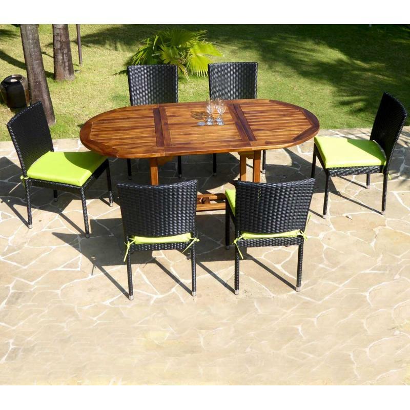 Salon de jardin table + 6 chaises en résine tressée - bali ...