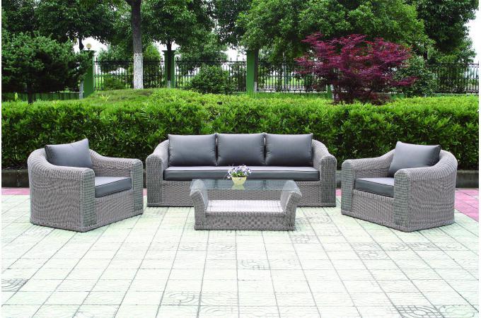 Salon de jardin en rotin gris - Mailleraye.fr jardin