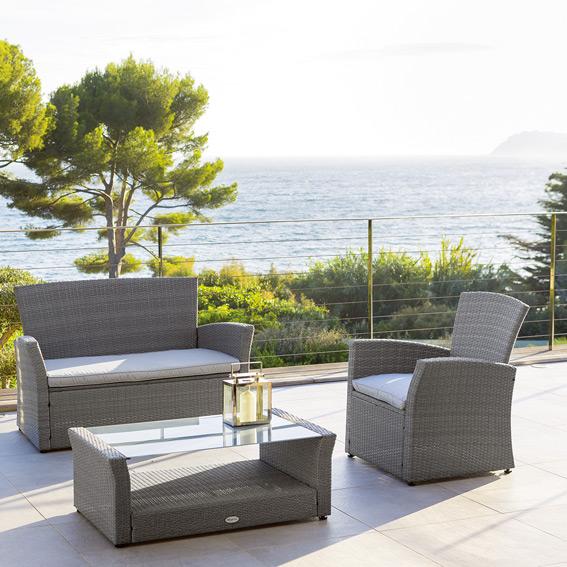 Salon de jardin tressé gris 4 places - Mailleraye.fr jardin