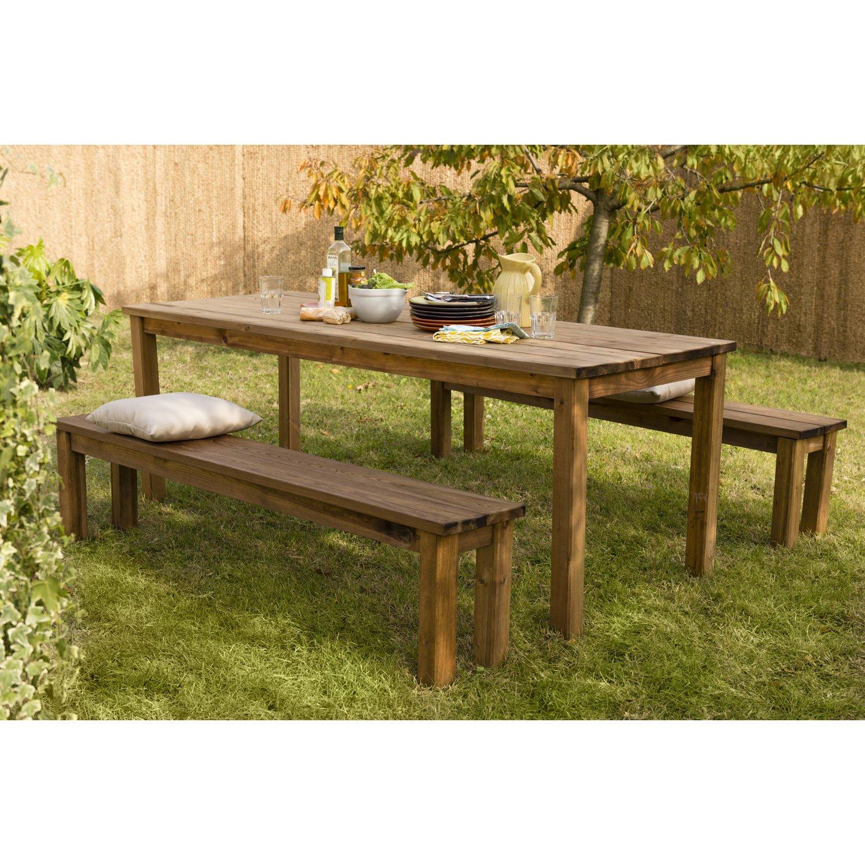 Salon de jardin table ronde bois - Mailleraye.fr jardin