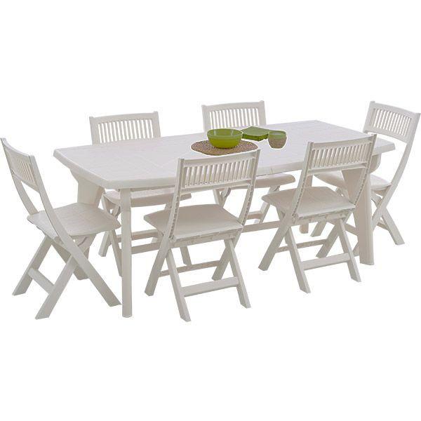Table salon de jardin en pvc