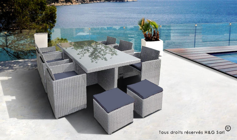 Salon de jardin resine tressee encastrable 6 places ...