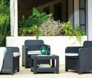 Salon de jardin lychee 1 table basse 2 fauteuils