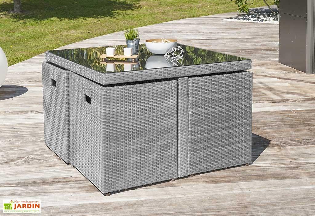 Salon de jardin table résine tressée avec 4 fauteuils encastrables ...