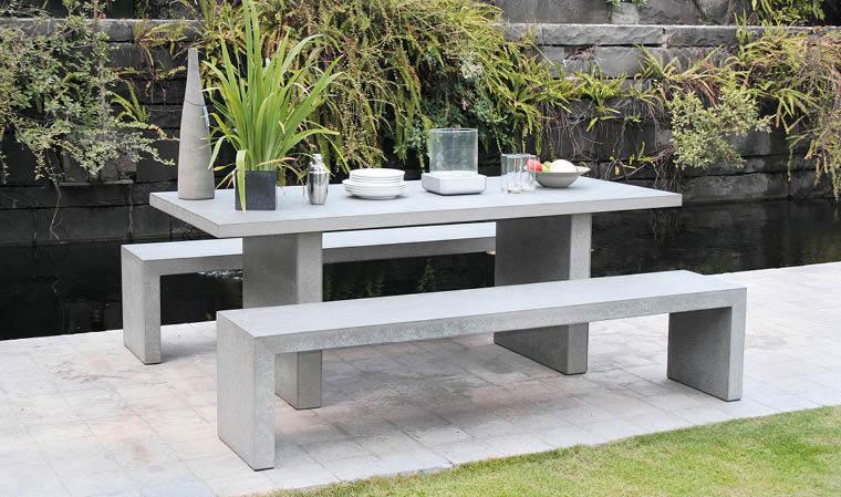 Mobilier de jardin en ciment imitation bois