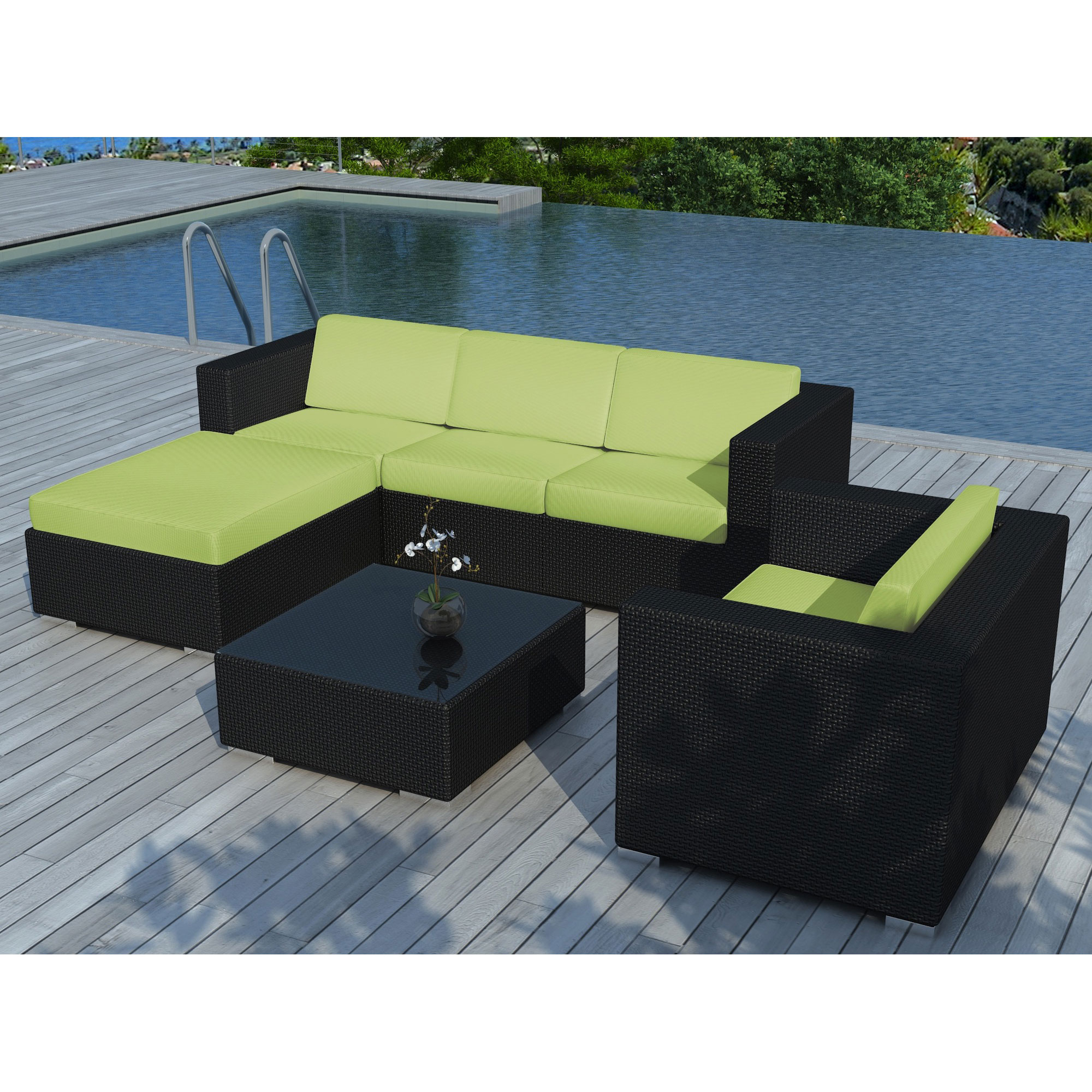 Salon de jardin table basse poufs