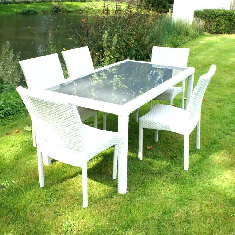 Salon de jardin sofia - table avec rallonge et 6 fauteuils-blanc ...
