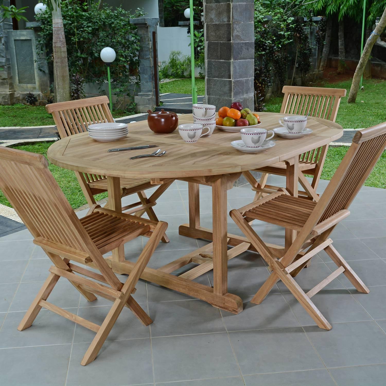 Salon de jardin teck table ronde - Mailleraye.fr jardin